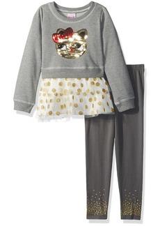 Nannette Little Girls' 2 Piece French Terry Crew Sweatshirt Legging Set