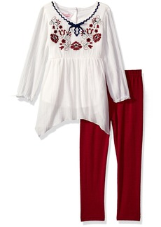 Nannette Little Girls' 2 Piece Gauze Legging Set with Embroidery