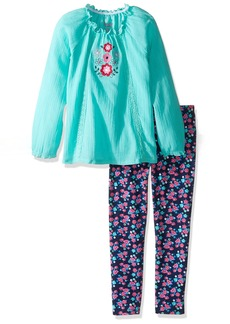 Nannette Little Girls' 2 Piece Gauze Legging Set with Flower Embroidery