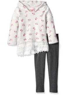 Nannette Little Girls' 2 Piece Hooded Athleisure Set With Lace Trim and Legging
