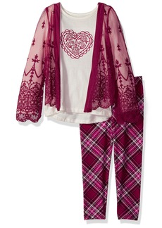 Nannette Little Girls' 2 Piece Kimono Legging Set with Chiffon Embroidered Lace