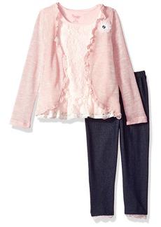Nannette Girls' Little 2 Piece Kimono Legging Set with Lace Tee
