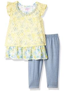 Nannette Little Girls' 2 Piece Lace Capri Set