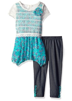 Nannette Little Girls' 2 Piece Popover Legging Set with a Printed Chiffon Hankerchief