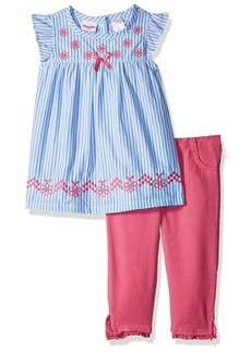 Nannette Little Girls' 2 Piece Stripe Poplin Capri Set