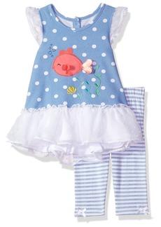 Nannette Girls' Little 2 Piece Swiss Dot Chiffon Top and Printed Legging