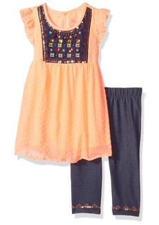 Nannette Little Girls' 2 Piece Swiss Dot Top with Embelished Rhinestones and Knit Denim Jegging
