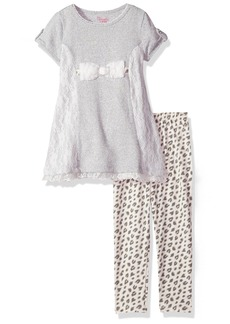 Nannette Little Girls' 2Pc Fashion Pant Set with Heather Knit Pullover