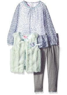 Nannette Little Girls' 3 Piece Curly Faux Fur Vest Set with Legging