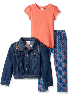 Nannette Little Girls' 3 Piece Denim Jacket Set with with Tee and Legging