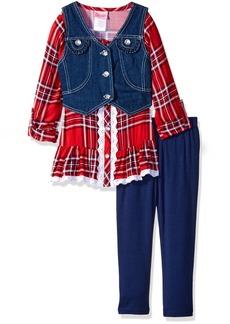 Nannette Little Girls' 3 Piece Legging Set with a Plaid Shirt and Denim Vest