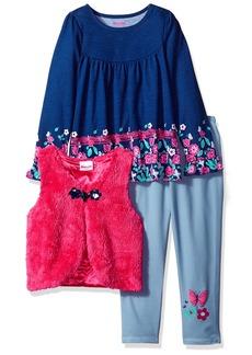 Nannette Girls' Little 3 Piece Long Sleeve Ruffle Top and Sherpa Vest Legging Set