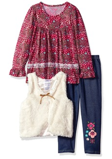 Nannette Little Girls' 3 Piece Long Sleeve Ruffle Top and Sherpa Vest Legging Set