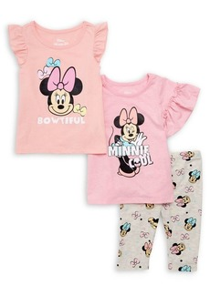 Nannette Little Girl's 3-Piece Ruffled-Sleeve Top, Flutter-Sleeve top, and Printed Pants