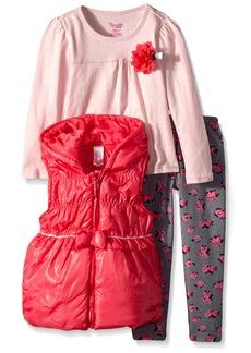 Nannette Little Girls' 3 Piece Vest Set with Floral Printed Legging