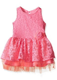 Nannette Little Girls All Over Lace Dress with Tiered Skirt