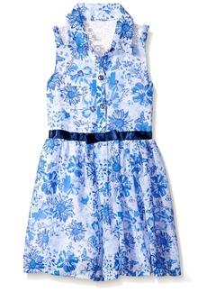 Nannette Little Girls' Toddler Belted Chiffon Shirt Dress