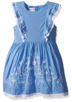 Nannette Little Girls' Boho Emboidered Clip Dot Dress with Ruffled Bodice