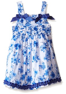Nannette Little Girls Clip Dot Dress with Ruffled Bodice with Bow