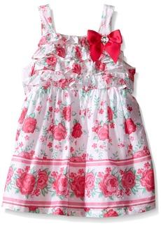 Nannette Little Girls Clipdot Dress with Ruffled Bodice