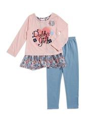 Nannette Little Girl's Daddys Girl Graphic Top and Leggings Set