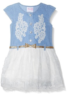 Nannette Little Girls' Denim Dress with Crochet Trim  6x