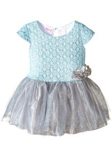 Nannette Little Girls' Dress Glitter Novelty Knit Top with Glittered Mesh Skirt