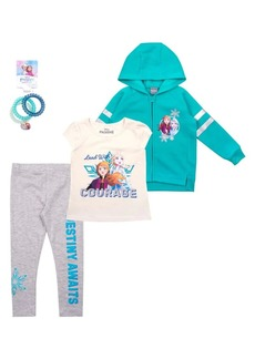 Nannette Little Girl's Elsa and Anna Frozen 2 3-Piece Hoodie, Tee, and Leggings Set