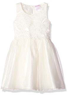 Nannette Little Girls' Embroidered Dress with Mesh Skirt Daisy Trim