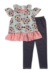 Nannette Little Girl's Floral Knit Top Leggings and Necklace Set