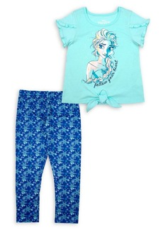 Nannette Little Girl's Frozen 2-Piece Graphic Tee & Snowflakes-Print Leggings Set