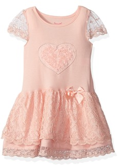 Nannette Girls' Little Gorgeous Knit Dress with Applique Bodice and Lace Tutu Skirt