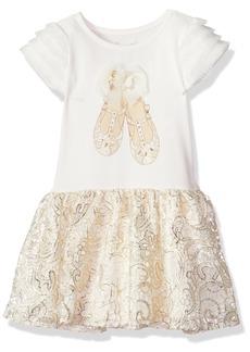 Nannette Little Girls' Knit Dress with 3D Applique Bodice and Lace Tutu Skirt