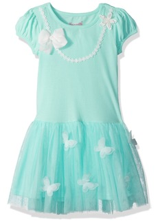 Nannette Girls' Little Knit Dress with Applique Bodice and Lace Tutu Skirt