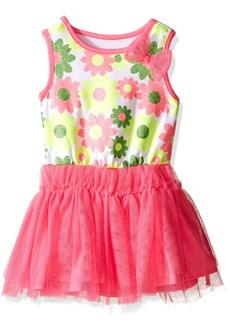 Nannette Little Girls Knit Flower Top with Glitter Mesh Skirt