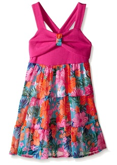 Nannette Little Girls Knit Top with Printed Chiffon Skirt