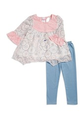 Nannette Little Girl's Lace Accented Top Leggings and Necklace Set