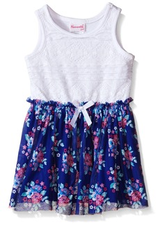 Nannette Little Girls Lace Bodice with Floral Chiffon Skirt