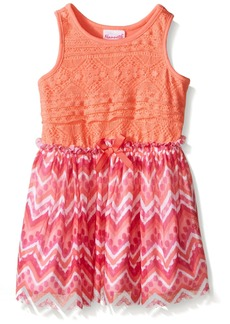 Nannette Little Girls' Toddler Lace Bodice with Striped Chiffon Skirt