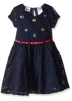 Nannette Little Girls' Lace Dress with Rhinestone Bodice Belt