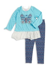 Nannette Little Girl's Lace Trimmed Tunic, Leggings and Necklace Set