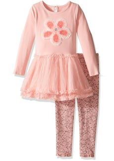 Nannette Little Girls' Toddler Long Sleeve Knit Top with Flower Applique and Printed Legging