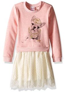 Nannette Little Girls' Long Sleeve Sweatshirt Dress with Glitter Tutu Skirt