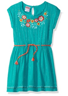 Nannette Little Girls' Metallic Gauze Dress with Belt