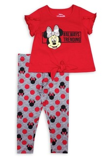 Nannette Little Girl's Minnie Mouse 2-Piece Graphic Tee & Printed Leggings Set