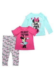 Nannette Little Girls Minnie Mouse 3-Piece Cotton Tops & Leggings Set
