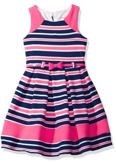Nannette Little Girls' Printed Knit Dress with Colorblock Detail