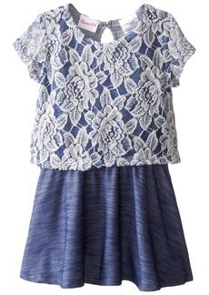 Nannette Little Girls Short Sleeved Knit Denim Dress with Lace Popover Bodice