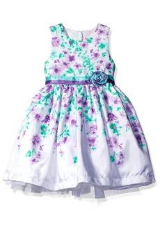 Nannette Girls' Little Sleeveless Floral Shantung Dress