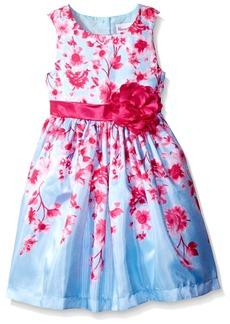 Nannette Little Girls' Sleeveless Flower Printed Shantung Dress